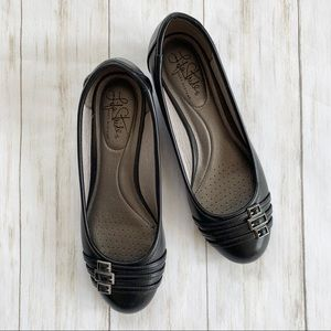 Life Stride Shoes - Life Stride Low Wedge-Heel Flats with Buckles